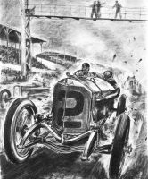 "Five-hundred-mile ""Indy 500"" race in Indianapolis (USA), 31 May 1915. The subsequent winner Ralph DePalma in his Mercedes Grand Prix racing car. Drawing by Hans Liska."